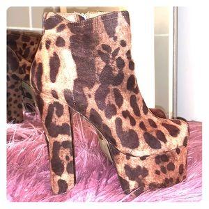 Stacked platform Cheetah booties